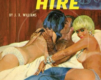 Stud for Hire - 10x17 Giclée Canvas Print of a Vintage Pulp Paperback Cover