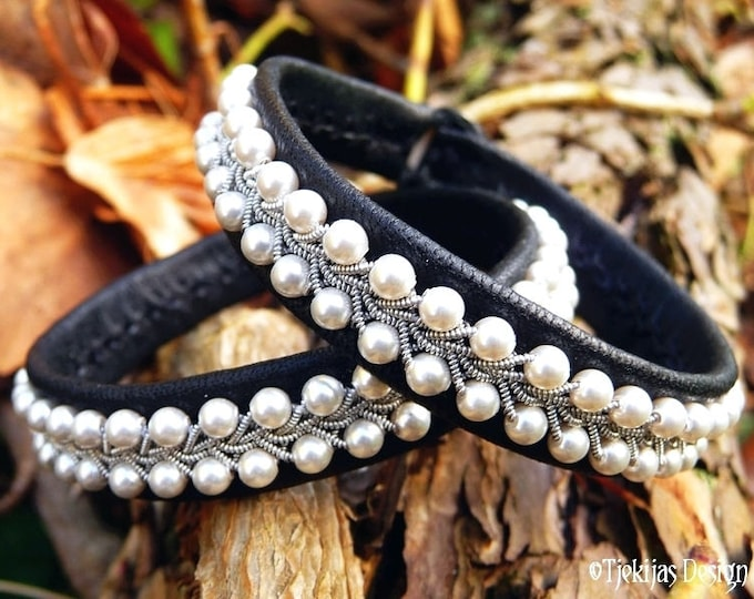 Black Leather White Pearls Sami Bracelet SKINFAXE Shieldmaiden Vikings Wristband Cuff