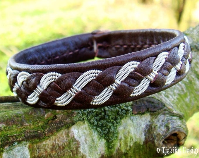 FENRIS WOLF Viking Bracelet | Swedish Saami Pewter and Brown Leather Cuff | Handcrafted Nordic Folklore Jewelry in Your Size and Color