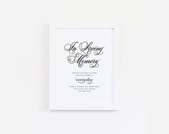 "Instant Download - Classical In Loving Memory Wedding Print - 8""x10"""