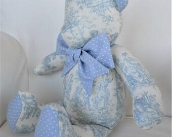 MADE TO ORDER - Noah - Light Blue Toile Teddy Bear