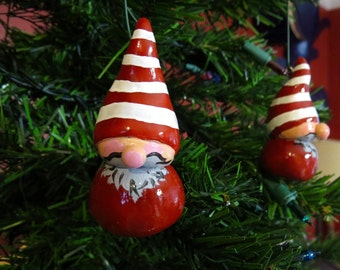 Gnome Ornaments | Gnomes in Elf Hats | Red Holiday Ornaments | Christmas Ornaments | Tree Ornaments | Hand Painted Gnome Figurines OOAK