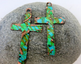 2 Embossed Crosses, River Run Patina, Handcrafted Earring Charms, Bracelet or Necklace Components