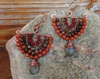 Sandy. Hammered Artisan Boho Copper Chandelier Drop Earrings with Wire Wrapped Smoky Quartz, Orange Sandstone, Labradorite, Jasper, Jade Gem