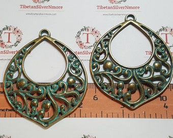 2 pcs per pack 56x45mm Large Chandelier Earring Component or Link in Patina Bronze