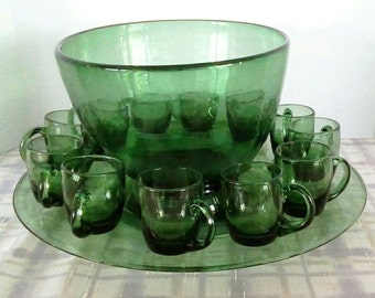 Vintage Hand Blown Green Glass Punch Bowl Set w/Platter, Hand Blown Glass, Glassware, Barware