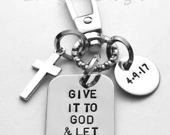 Adult baptism gift - Confirmation gift - Give it to God and Let it Go - hand stamped stainless steel