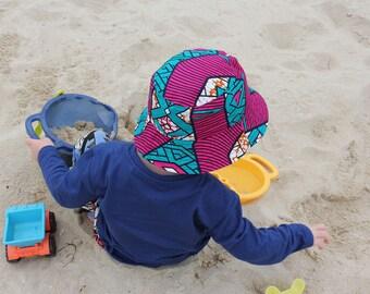 African Wax Print Kids Reversible Hat