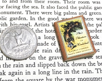 SALE - Miniature Book / Alice in Wonderland - Lewis Carroll / Inch tall Vintage Book / blank pages / Mini literary classics / Book club gift