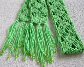 Beaded Green Scarf.  Lime light green, long crochet skinny scarf with yellow beads.
