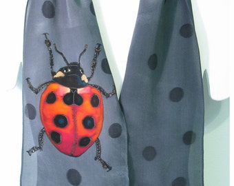 "Ladybug Silk Scarf. Hand-painted silk scarf. 8""x52"". Ladybird scarf. Grey silk scarf. Painted silk scarf~Painted silk scarves~silk painting"