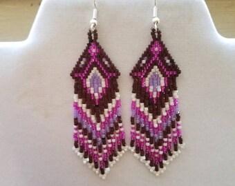 Native American Style Beaded Chocolate, Hot Pink, Purple and White  Earrings Southwestern Boho, Peyote, Gypsy, Brick Stitch, Ready to Ship