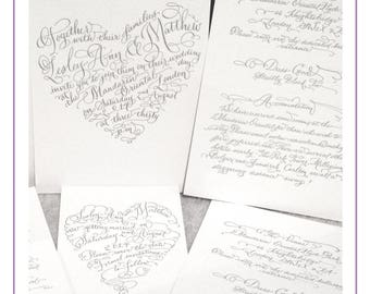 I Heart Calligraphy by Laura Lavender |  Custom Hand Lettered invitation Package