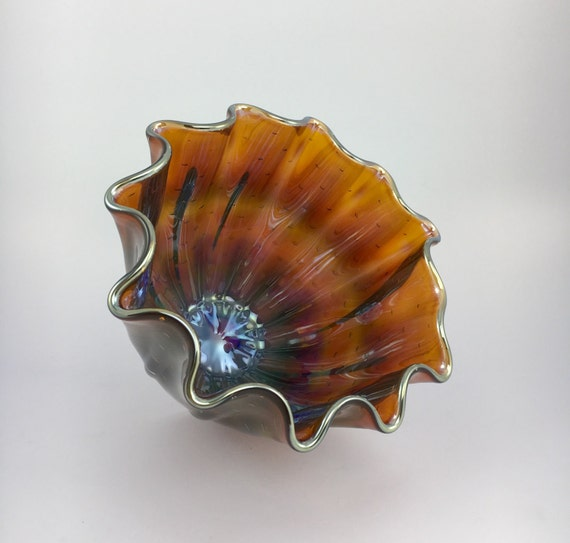 Hand Blown Glass Bowl - Gold Amber Luster Clamshell Bubble Bowl Form by Jonathan Winfisky