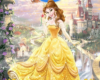 Princess Belle Thank You Card, Beauty and The Beast Thank You Note, Belle Party