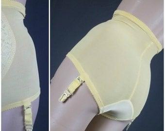 vintage warner's girdle panties garter briefs spandex nylon 60s sunny yellow mod lge large panty lingerie bombshell pinup burlesque