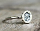 Sterling Silver Ganesh Ring - Lord Ganesha - Elephant  - Hindu - Yoga Jewelry - Good Luck - Lucky - Hand Stamped