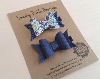Pig Tail Bows,Liberty of London,Navy Blue Hair Bow,Toddler Hair Bows,Floral Hair Clip,Spring Hair Bows,Navy Faux Leather Bow,Hair Clip Set