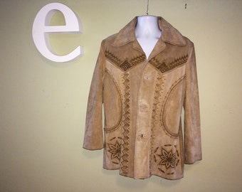 Vintage 70s Mens Tooled Suede Leather Jacket 1970s Rockabilly Hippie Coat Made in Mexico Mexican Vaquero Cowboy Western Southwest Size 42