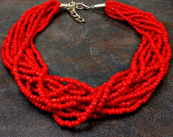 Red Bead Necklace, Statement Necklace, Seed Bead Necklace, Red, Multistrand, Chunky Necklace, Red Necklace, Cherry Red, Big Necklace
