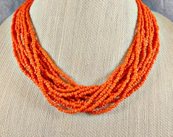 Seed Bead Necklace, Statement Necklace, Orange, Boho, Multistrand Necklace, Chunky Necklace, Orange Necklace, Beaded Necklace