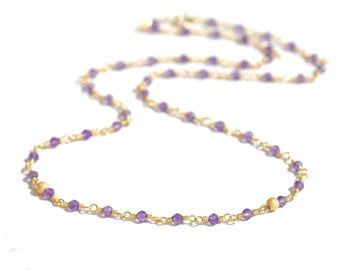 14K Gold. Amethyst beaded Necklace in 14KYG,  February Birthstone Jewelry, Gift for Her, Holiday Gift Idea