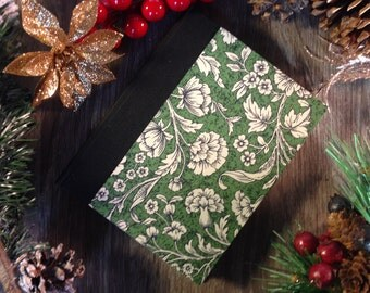 Blank notebook / journal (small), Victorian flowers, 128 pages, cotton sheets, fabric hard spine, for sketching, drawing or writing