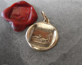 Tortoise and Hare Wax Seal Charm - Aesop fable antique wax seal jewelry pendant in bronze by RQP Studio
