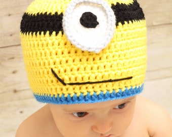 Crochet Minion Hat, Despicable Me, One Eyed Minion, Earflap Beanie, Size Adult, Teen Adult, Universal Studios, Ready To Ship
