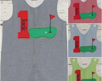 Boys Golf Longall Shortall First Birthday Jon Jon Golf Romper Monogram Birthday Shortall Applique Golf Outfit