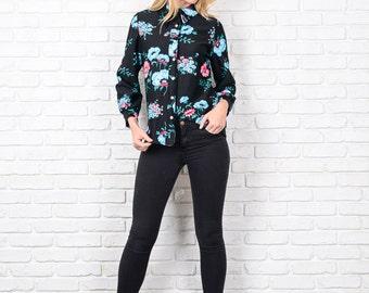 Vintage 70s 80s Black Mod Top Blouse Shirt Button Down Floral Print medium M 8701