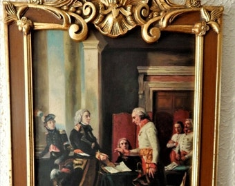 """Sale Antique Vintage Oil Painting Art Interior Scene """" Signing of the Convention of Alexandria """" Baroque Style Frame European Genre Home Dec"""