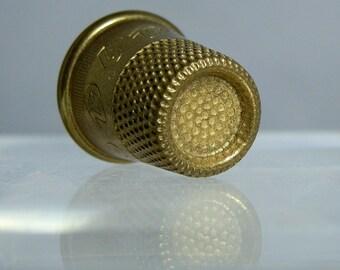 Vintage Brass Thimble Marked EZ 9