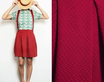 Burgundy/red pleated skirt with removable suspenders, pinafore [Cinnamon skirt/burgundy]