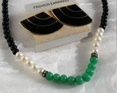 Teal Black & White Pearl Bead Necklace, Vintage Black Enamel Fan Earrings