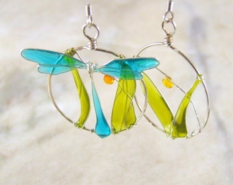 Blue Circle Resin Filled Dragonfly Path Wire Earrings
