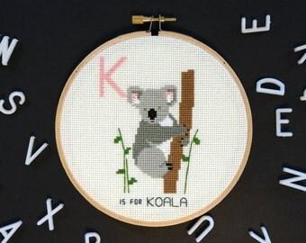 K is for Koala   Modern cross stitch   Alphabet Animalia