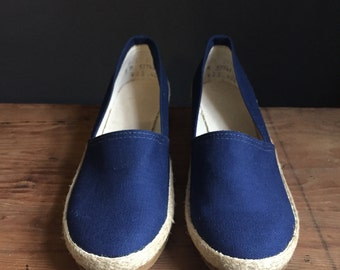Sz 8 | Espadrilles Navy Blue Canvas Espadeille Slip On Wedge Sandals Size 8 M Vintage Summer Shoe