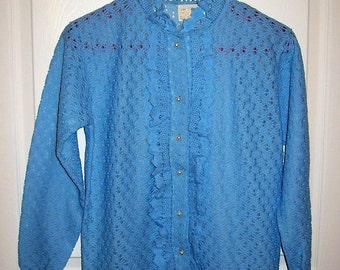 Vintage 1950s Ladies Baby Blue Ruffled Lace Cardigan Sweater Medium Only 20 USD
