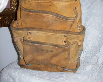 Vintage Suede Leather Carpenters Tool Holder Apron Pouch by Benchtop Only 12 USD