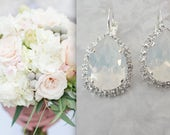 White opal crystal earrings, Swarovski Crystal earrings, Halo crystal earrings, Brides earrings,Bridesmaids earrings,Wedding earrings,SOPHIA