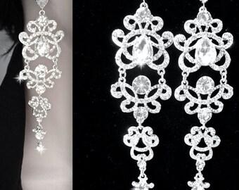 "Crystal chandelier earrings ~ Long, Crystal statement earrings ~ 5""~ Sterling posts ~ Wedding jewelry - Brides statement earrings -ANGELINA"
