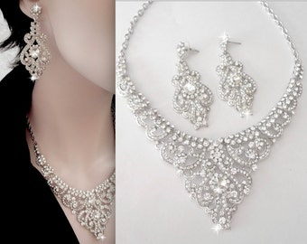 Brides jewelry set ~ Wedding jewelry set ~ Crystal bib necklace and earrings set ~ Statement jewelry set ~ Bridal Jewelry set ~ MARIA