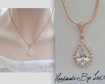 Rose gold necklace, Rose Gold bridal necklace, Rose gold wedding necklace, Rose gold cubic zirconia teardrop, Rose gold bridal jewelry ~ MIA