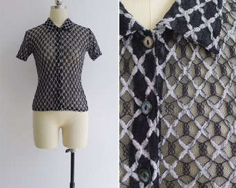 Vintage 90's Sheer Black & Silver Lace Blouse XS or S