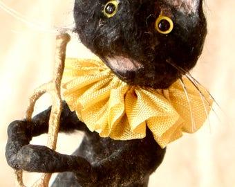 Spun cotton musical black cat a OOAK vintage craft ornament by jejeMae