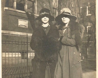 "Vintage Snapshot ""Peering Out"" Low-Brimmed Hats Pretty Girls Victorian Hats Foxtails High Button Shoes Found Photo"
