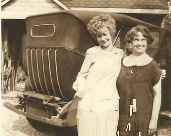 """Vintage Snapshot """"Blonde Bombshell"""" Bouffant Hairstyle Flapper Dress Pretty Girl Old Car Found Photo"""