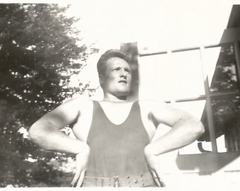 "Vintage Snapshot ""Muscle Man"" Bodybuilder Weightlifter Poses Weight Belt Pompadour Found Vernacular Photo"