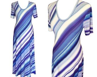 Striped Maxi Dress, Plus Size Dress, Summer Dress, Blue Stripes, Maxi Dress With Sleeves, Flair Dress, Designers Dress, Cotton Dress